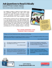 Comprehension Toolkit Lesson 19 Ask Questions to Read Critically