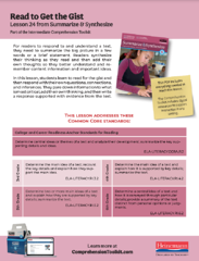 Comprehension Toolkit Lesson 24 Read to Get the Gist